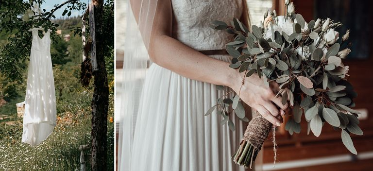 Hochzeitskleid hängt am Baum
