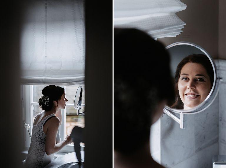 Braut im Badezimmer