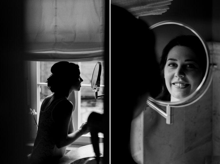Braut im Bad vor dem Spiegel