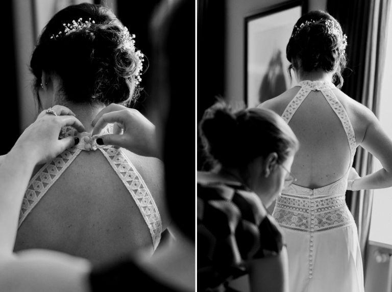 Braut wird das Brautkleid zu geknöpft